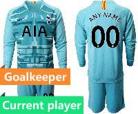 Mens 20-21 Soccer Tottenham Hotspur Club Current Player Blue Goalkeeper Long Sleeve Suit Jersey