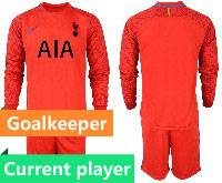 Mens 20-21 Soccer Tottenham Hotspur Club Current Player Red Goalkeeper Long Sleeve Suit Jersey