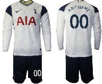 Mens 20-21 Soccer Tottenham Hotspur Club ( Custom Made ) White Home Long Sleeve Suit Jersey