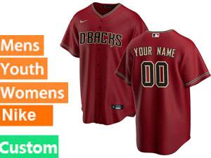 Mens Womens Youth Mlb Arizona Diamondbacks Custom Made 2020 Nike Red Cool Base Jersey