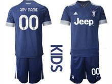 Kids 20-21 Soccer Juventus Club ( Custom Made ) Blue Away Short Sleeve Suit Jersey