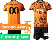 Kids 20-21 Soccer Juventus Club Current Player Orange Second Away Short Sleeve Suit Jersey