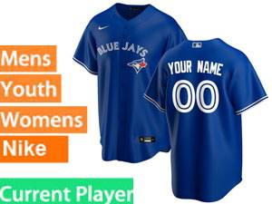 Mens Women Youth Toronto Blue Jays Current Player Nike 2020 Blue Alternate  Cool Base Jersey