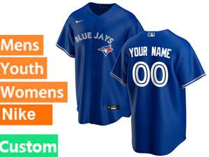 Mens Women Youth Toronto Blue Jays Custom Made Nike 2020 Blue Alternate Cool Base Jersey