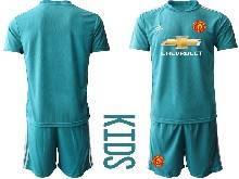 Kids 20-21 Soccer Manchester United Club ( Custom Made ) Blue Goalkeeper Short Sleeve Suit Jersey