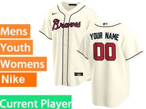 Mens Womens Youth Nike 2020 Atlanta Braves Cream Cool Base Current Player Jersey