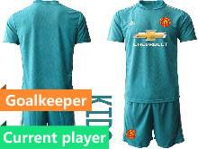 Kids 20-21 Soccer Manchester United Club Current Player Blue Goalkeeper Short Sleeve Suit Jersey
