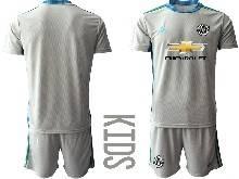 Kids 20-21 Soccer Manchester United Club ( Custom Made ) Gray Goalkeeper Short Sleeve Suit Jersey