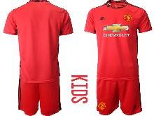 Kids 20-21 Soccer Manchester United Club ( Custom Made ) Red Goalkeeper Short Sleeve Suit Jersey