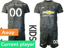Kids 20-21 Soccer Manchester United Club Current Player Black Away Short Sleeve Suit Jersey