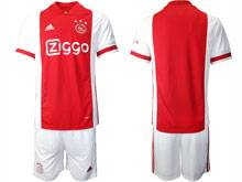 Mens 20-21 Soccer Afc Ajax Club ( Custom Made ) Red Home Short Sleeve Suit Jersey