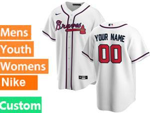 Mens Womens Youth Nike 2020 Atlanta Braves White Custom Made Cool Base Jersey