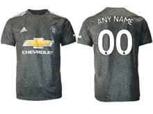 Mens 20-21 Soccer Manchester United Club ( Custom Made ) Black Away Thailand Short Sleeve Jersey