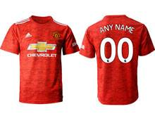 Mens 20-21 Soccer Manchester United Club ( Custom Made ) Red Home Thailand Short Sleeve Jersey