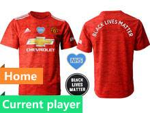 Mens 20-21 Soccer Club Manchester United Current Player Blm Black Lives Matter Red Home Short Sleeve Jersey