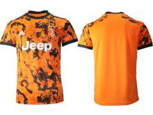 Mens 20-21 Soccer Juventus Club ( Custom Made ) Orange Second Away Thailand Short Sleeve Jersey