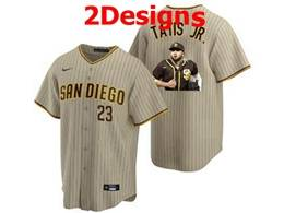 Mens Mlb San Diego Padres #23 Fernando Tatis Jr. Brown Stripe Cool Base Nike Jersey 2 Designs