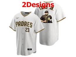 Mens Mlb San Diego Padres #23 Fernando Tatis Jr. White Stripe Cool Base Nike Jersey 2 Designs