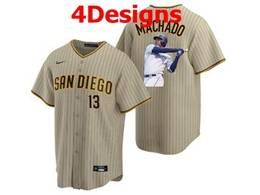 Mens Mlb San Diego Padres #13 Manny Machado Brown Stripe Cool Base Nike Jersey 4 Designs