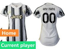 Women 20-21 Soccer Juventus Club Current Player White Black Stripe Home Thailand Short Sleeve Jersey