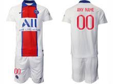 Mens 20-21 Soccer Paris Saint Germain ( Custom Made ) White Away Short Sleeve Suit Jersey