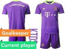 Kids 20-21 Soccer Bayern Munchen Current Player Purple Goalkeeper Short Sleeve Suit Jersey