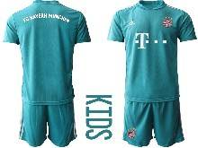 Kids 20-21 Soccer Bayern Munchen ( Custom Made ) Blue Goalkeeper Short Sleeve Suit Jersey