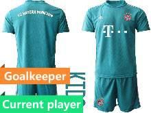 Kids 20-21 Soccer Bayern Munchen Current Player Blue Goalkeeper Short Sleeve Suit Jersey