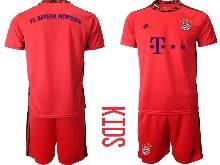 Kids 20-21 Soccer Bayern Munchen ( Custom Made ) Red Goalkeeper Short Sleeve Suit Jersey