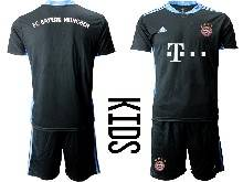 Kids 20-21 Soccer Bayern Munchen ( Custom Made ) Black Goalkeeper Short Sleeve Suit Jersey