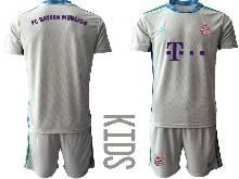Kids 20-21 Soccer Bayern Munchen ( Custom Made ) Gray Goalkeeper Short Sleeve Suit Jersey