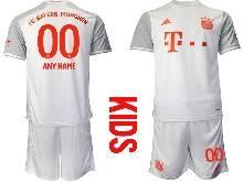 Kids 20-21 Soccer Bayern Munchen ( Custom Made ) White Away Short Sleeve Suit Jersey