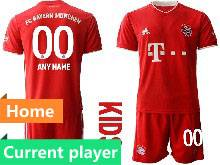 Kids 20-21 Soccer Bayern Munchen Current Player Red Home Short Sleeve Suit Jersey