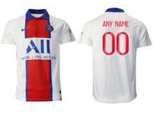 Mens 20-21 Soccer Paris Saint Germain ( Custom Made ) White Away Thailand Short Sleeve Jersey