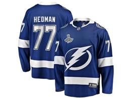 Mens Nhl Tampa Bay Lightning #77 Victor Hedman Blue 2020 Stanley Cup Champions Jersey