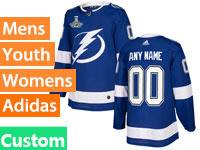 Mens Women Youth Nhl Tampa Bay Lightning Blue Custom Made 2020 Stanley Cup Champions Jersey