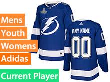 Mens Women Youth Nhl Tampa Bay Lightning Blue Current Player 2020 Stanley Cup Champions Jersey