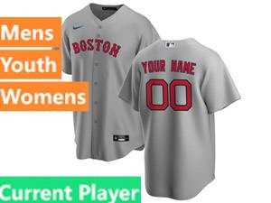 Mens Womens Youth Nike 2020 Boston Red Sox Gray Cool Base Current Player Road Jersey