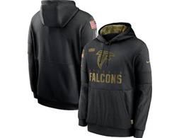 Mens Women Youth Nfl Atlanta Falcons Black 2020 Salute Pocket Pullover Hoodie Nike Jersey
