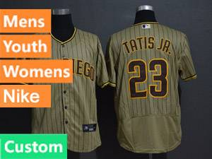 Mens San Diego Padres Custom Made Alternate 2020 Nike Brown Stripe Flex Base Jersey