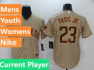 Mens Womens Youth San Diego Padres Current Player Alternate 2020 Nike Brown Stripe Cool Base Jersey