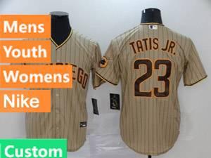 Mens Womens Youth San Diego Padres Custom Made Alternate 2020 Nike Brown Stripe Cool Base Jersey