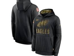Mens Women Youth Nfl Philadelphia Eagles Black 2020 Salute Pocket Pullover Hoodie Nike Jersey