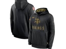 Mens Women Youth Nfl Minnesota Vikings Black 2020 Salute Pocket Pullover Hoodie Nike Jersey