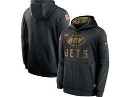 Mens Women Youth Nfl New York Jets Black 2020 Salute Pocket Pullover Hoodie Nike Jersey