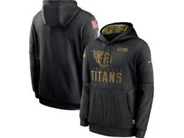 Mens Women Youth Nfl Tennessee Titans Black 2020 Salute Pocket Pullover Hoodie Nike Jersey