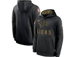Mens Women Youth Nfl Detroit Lions Black 2020 Salute Pocket Pullover Hoodie Nike Jersey