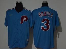 Mens Mlb Philadephia Phillies #3 Bryce Harper Blue Throwbacks Cool Base Nike Jersey