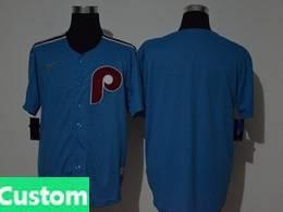 Mens Mlb Philadephia Phillies Blue Throwbacks Custom Made Cool Base Nike Jersey