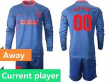 Mens 20-21 Soccer Atletico De Madrid Club Current Player Blue Away Long Sleeve Suit Jersey